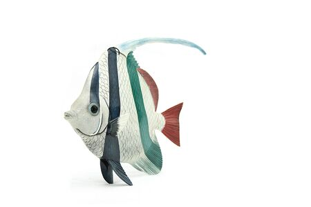 scalare: scalare angel fish made of wood on isolated background Stock Photo