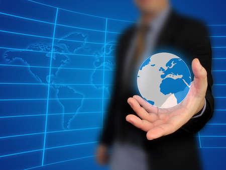 Businessman holding world Stock Photo - 10517488
