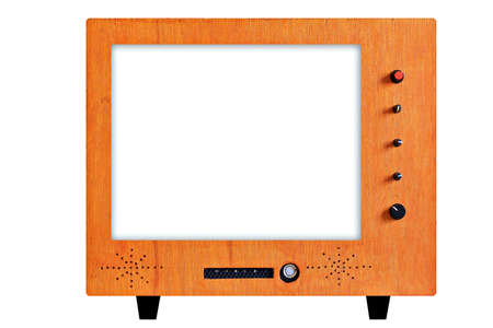 Front view of vintage TV with white-blank-screen Stock Photo - 10532761