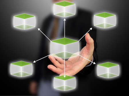 cubic: Business hand holding cubic diagram Stock Photo