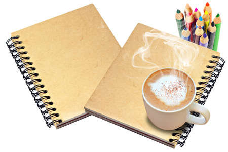 hot coffee on Old book cover Stock Photo - 10558423