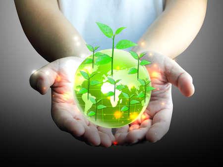green globe in hand