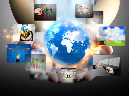 hand holding business world  Stock Photo - 11566428