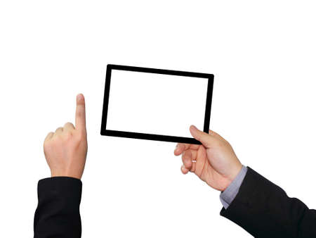 Businessman holding blank touch screen device photo