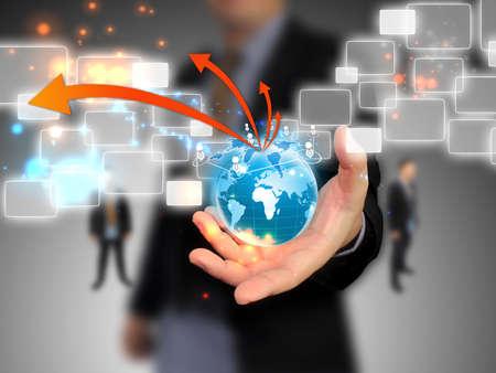 world of work: Businessman holding social network  Stock Photo