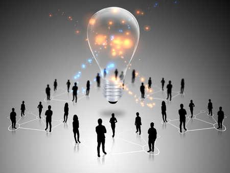 linked hands: Teamwork with idea light bulbs