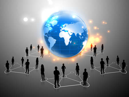 business people team with world map  Stock Photo - 11779083