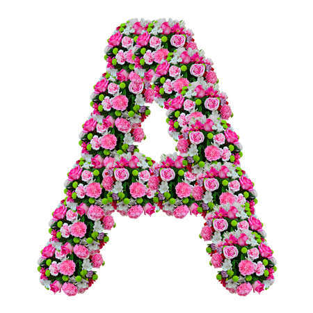 flower bed: A, flower alphabet isolated on white with clipping path