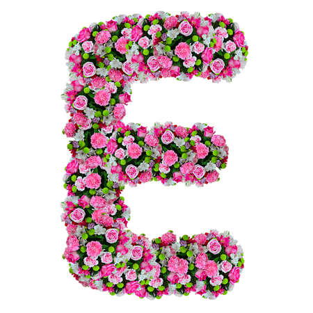 E, flower alphabet isolated on white with clipping path photo