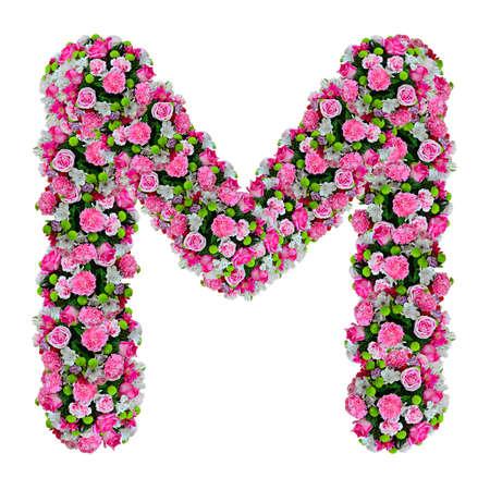 M, Blume Alphabet isoliert auf weiß mit Clipping-Pfad