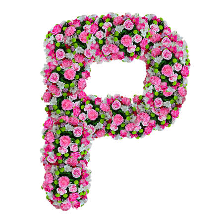 P, flower alphabet isolated on white with clipping path photo