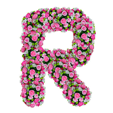 letter head: R, flower alphabet isolated on white with clipping path Stock Photo