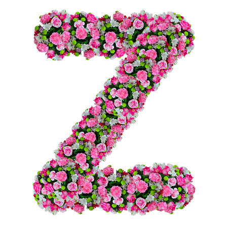 clipping  path: Z, flower alphabet isolated on white with clipping path