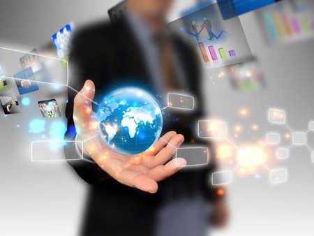 technologie: hand holding obchodní svět