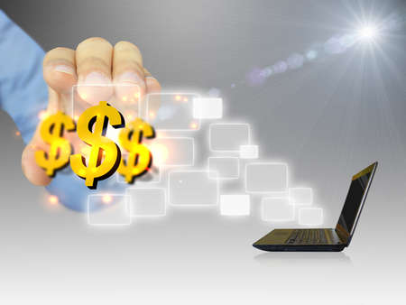earn: Online business.Dollar sign coming out of notebook screen
