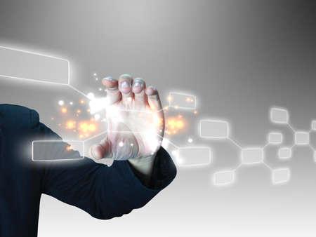 innovacion: la mano con pantalla t�ctil celebraci�n