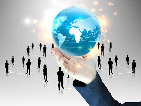 leiderschap: zakenman die wereldwijd met mensen team Stockfoto