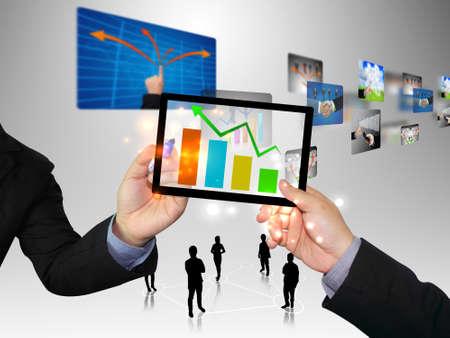 trends: Businessman writing graph