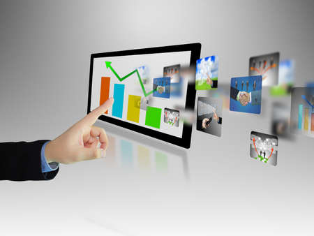 Businessman writing business graph photo