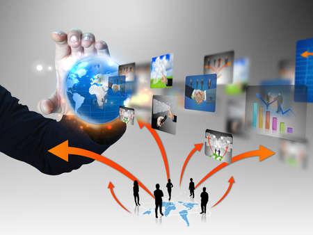 economie: zakenman met zakelijke wereld