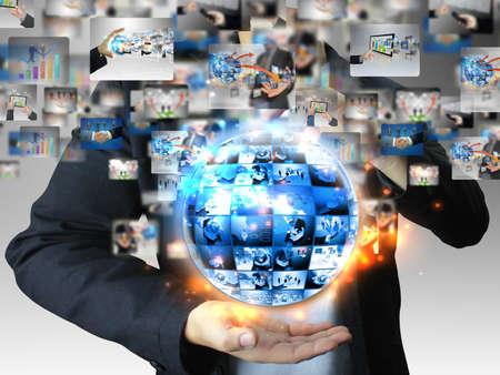 global market: businessman holding business world  Stock Photo