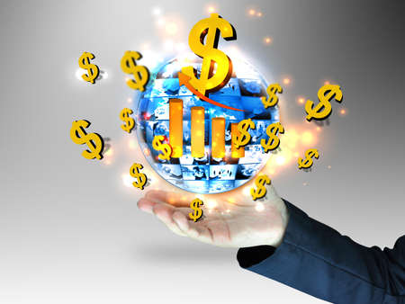 businessman holding dollars sign Stock Photo - 12855730