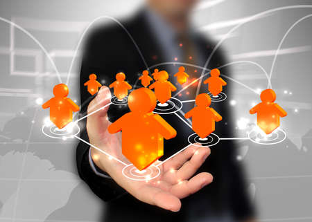 Businessman holding social network Stock Photo - 12855760