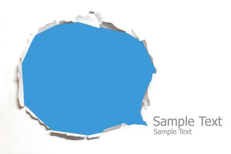 gescheurd papier: Gescheurd papier met blauwe achtergrond