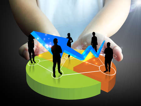 hand holding Business team with a chart  Stock Photo - 13549840