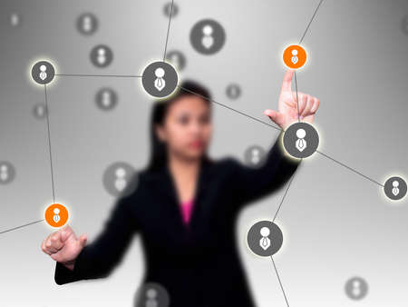 internet search: Businesswoman press social network  Stock Photo