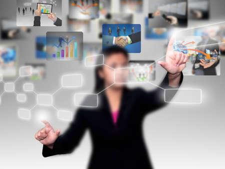 choosing selecting: businesswoman press diagram