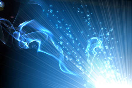 internet speed: smoke and star on blue background