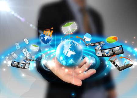 world market: businessman holding ideas around the world