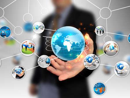 technológia: kezében business diagram