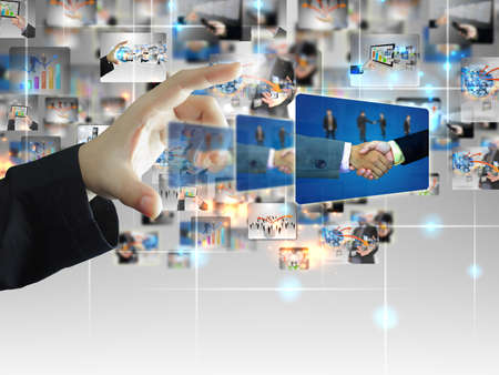 businessman holding business world  photo