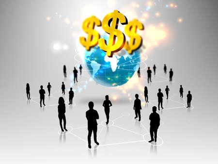 multinacional: la gente de negocios con el mundo de los negocios del equipo