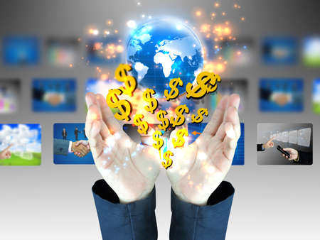 american dollar: businessman holding US dollar