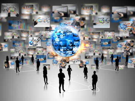 Business team with business world Stock Photo - 14569502