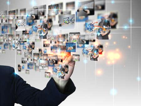 business communication: Businessman pressing business communication  Stock Photo