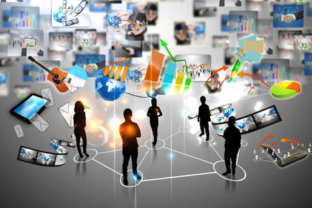 Business team with business world Stock Photo - 14678673