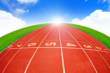 beauty contest: Running track over blue sky Stock Photo
