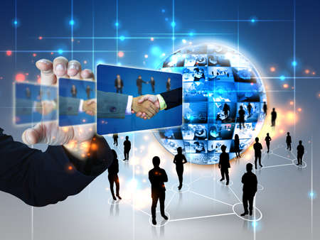 networking people: hombre de negocios la celebraci�n de �xito de las empresas