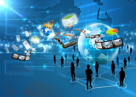 interaccion social: Equipo de negocios con las redes sociales Foto de archivo