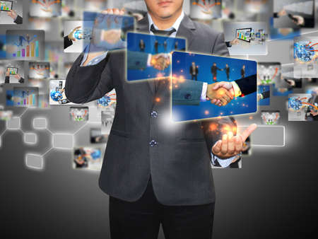 businessman holding Successful business  photo