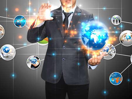 social event: Businessman holding social media  Stock Photo