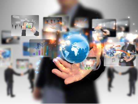 businessman holding business world Stock Photo - 15469026