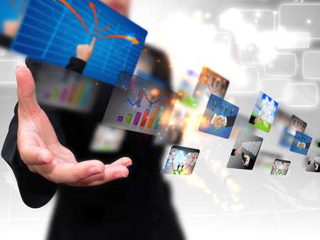 tecnologia: executiva, segurando Business Collection