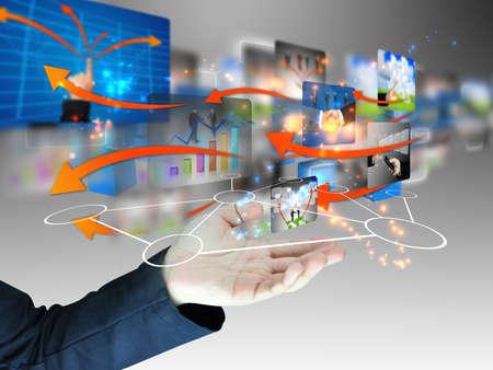 web screen: Hand holding network  Stock Photo