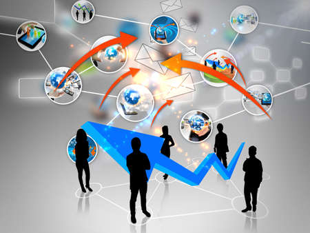 Business team with social media Stock Photo - 15808548