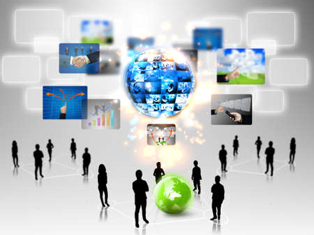 Business team with business world Stock Photo - 15808520